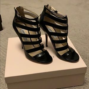 Jimmy Choo Fathom Black Leather Heel Size 38